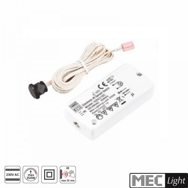 Mini Einbau IR Bewegungsmelder / Sensor Schalter 230V max. 500W mit Zuleitung
