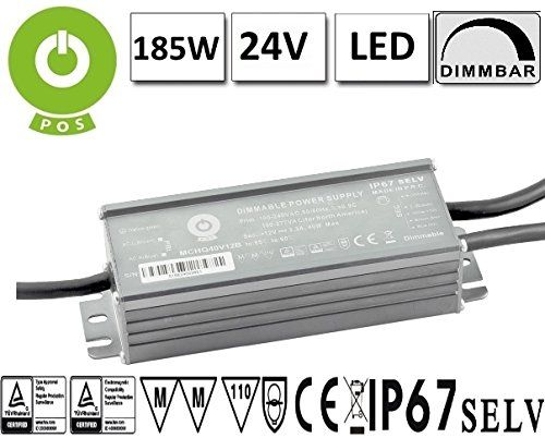 LED Trafo Netzteil dimmbar mit PFC 24V 185W 7,7A wasserfest (MCHQ185V24B-SC) MM