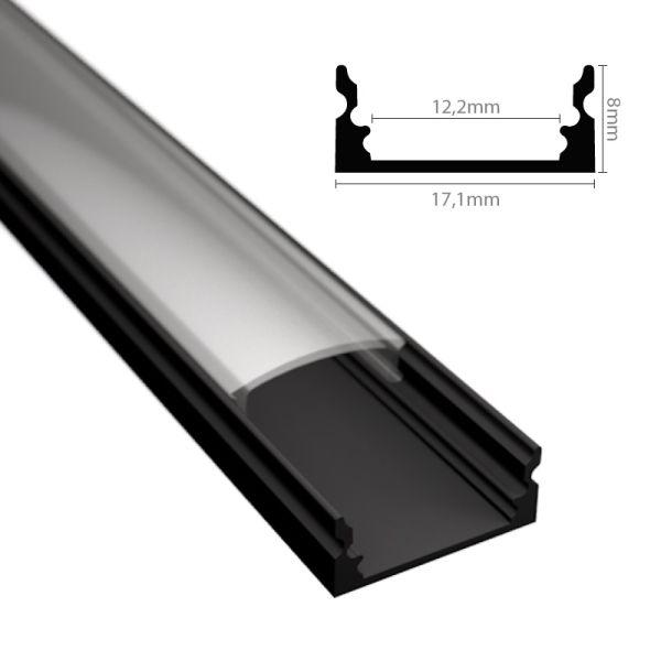 """ALU Profil / Leiste """"AUFBAU-SL"""" in schwarz für LED Streifen + Abdeckung eloxiert"""