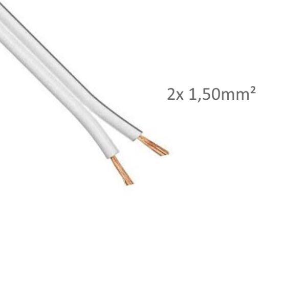 1-50m LED Kabel Zwillingslitze 2x 1,50mm² weiß 2 adrig Litze 100% Kupfer