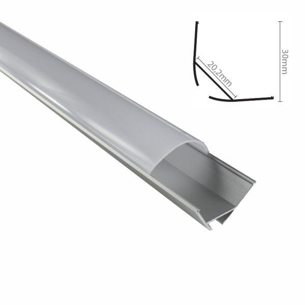 """ALU Profil Leiste/Schiene """"ECKE-30"""" für LEDStreifen + milchige runde Abdeckung"""