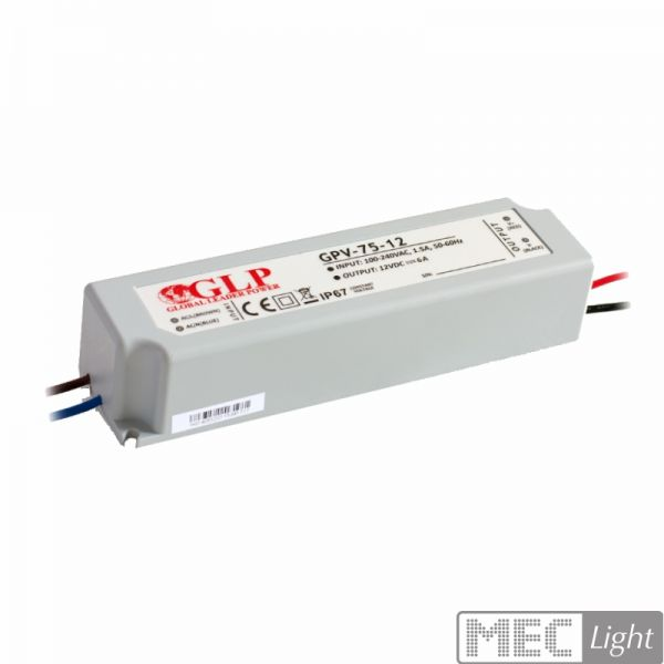 LED Trafo SMD Netzteil 72W 3A 24V wasserfest GLP (GPV-75-24) IP67